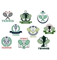 Tennis emblems with equipment and heraldic vector image vector image