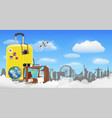 time to travel with bag and world travel object vector image