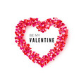 valentine card heart frame romantic decoration vector image