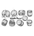 vintage wooden barrel in different side set vector image vector image