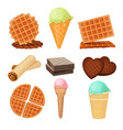 waffels desserts set of pictures isolate vector image