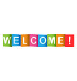 welcome tag market message flat on white vector image vector image