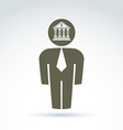 White collar bank worker man icon with bank vector image