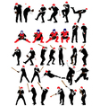 Set of detail baseball athlete silhouettes vector image