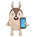 armadillo with mobile phone on white background vector image vector image