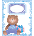 bablue frame with little bear vector image vector image