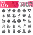 baby glyph icon set child symbols collection vector image