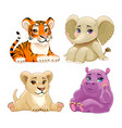 baby jungle animals with cute eyes vector image