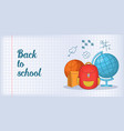 back school banner horizontal man cartoon style vector image vector image