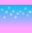 background with snowflakes hanging snowflakes vector image