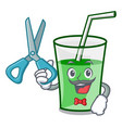 barber green smoothie character cartoon vector image vector image