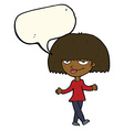 cartoon smug looking woman with speech bubble vector image vector image