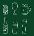 chalk sketch set beer glasses bottle and can vector image vector image