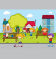 children playing in front of the house vector image vector image