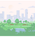 city park on high-rise buildings background vector image