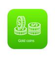 coin icon green vector image