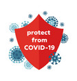 coronavirus concept covid-19 icon with red shield vector image vector image