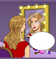 crying actress woman near mirror pop art vector image vector image