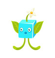 cute fantastic plant character square shape vector image vector image