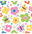cute spring flowers and butterflies pattern vector image