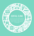 dentist office orthodontics blue medical circle vector image