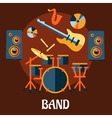 flat musical band instruments concept vector image
