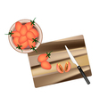 Fresh Red Grape Tomatoes on Cutting Board vector image