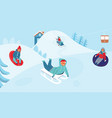 girls and boys sledding children characters winter vector image
