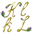 Gold alphabet with diamonds and gems letters KL vector image