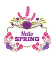 greeting card romantic label hello spring with vector image vector image