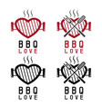 grill in a form heart and bbq tools happy vector image vector image