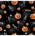 Halloween pumpkins skeleton background vector image