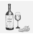 hand drawn set red wine elements vector image