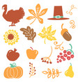 happy thanksgiving day objects beautiful vector image vector image