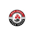hot grill steak house logo design meat grill