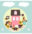 house with flowers vector image vector image