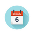 january 6 flat daily calendar icon date vector image vector image
