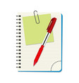 notebook with green notice paper and red pen vector image vector image