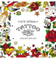 old school tattoo frame vector image