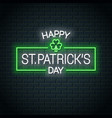 patrick day neon banner patrick clover neon sign vector image vector image