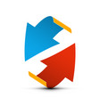 red and blue paper arrows up and down arrow vector image vector image