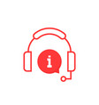 red info service hotline icon vector image vector image