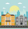 school and bank building skyscrapers landscape vector image vector image