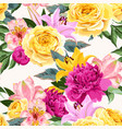 seamless pattern with pink and yellow flowers vector image