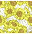 seamless pattern with sunflowers vector image vector image