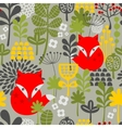 Seamless vintage fox and flowers pattern vector image