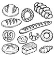 set of hand drawn bread white bread bun bagel vector image vector image