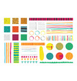 set with infographics elements in bright colors vector image