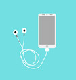 smart phone with earephones on a bluebackground vector image
