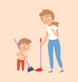 sweep floor mother and son with broom family vector image vector image